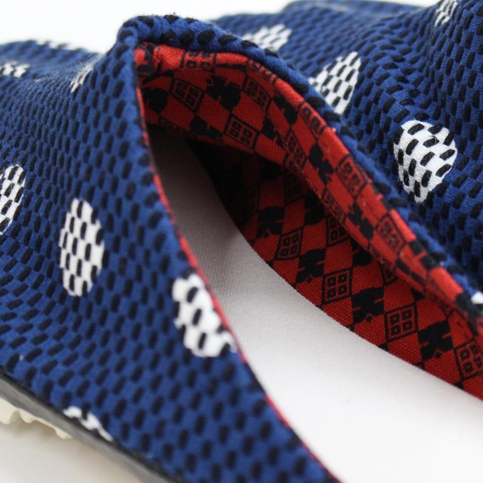 刺子織 足袋サボ 水玉/紺