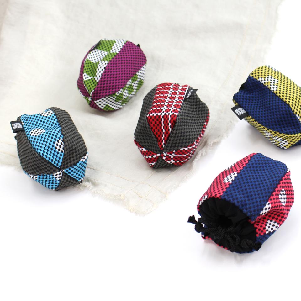 巾着袋(紙ふうせん)  水玉(水色)×グレー