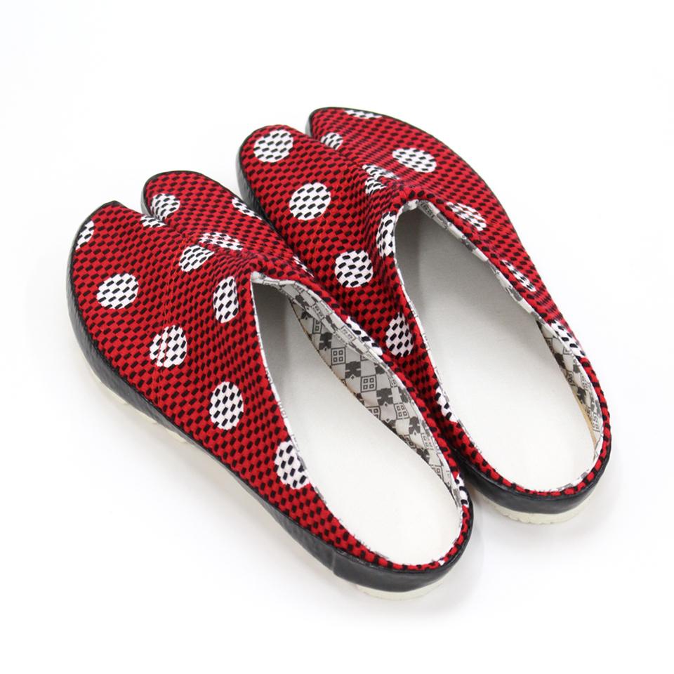 刺子織 足袋サボ 水玉/赤