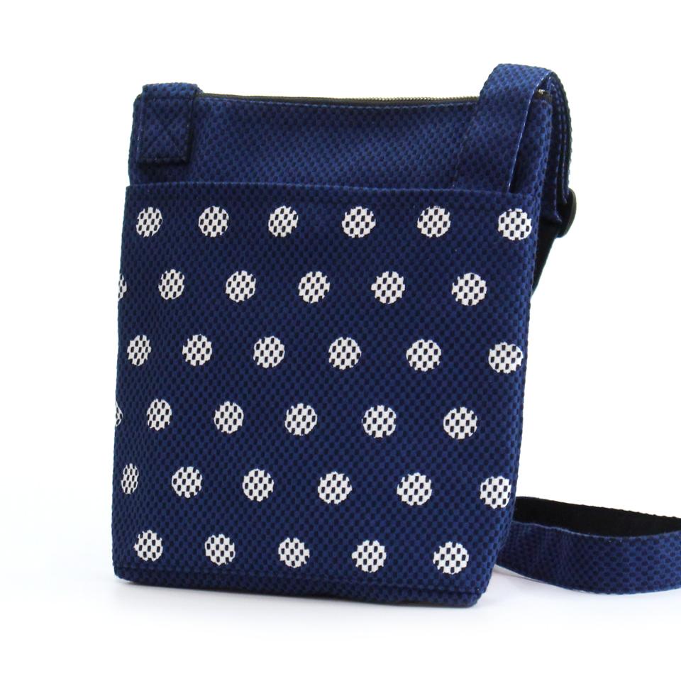 刺子織おさんぽバッグ 水玉/ 紺×紺