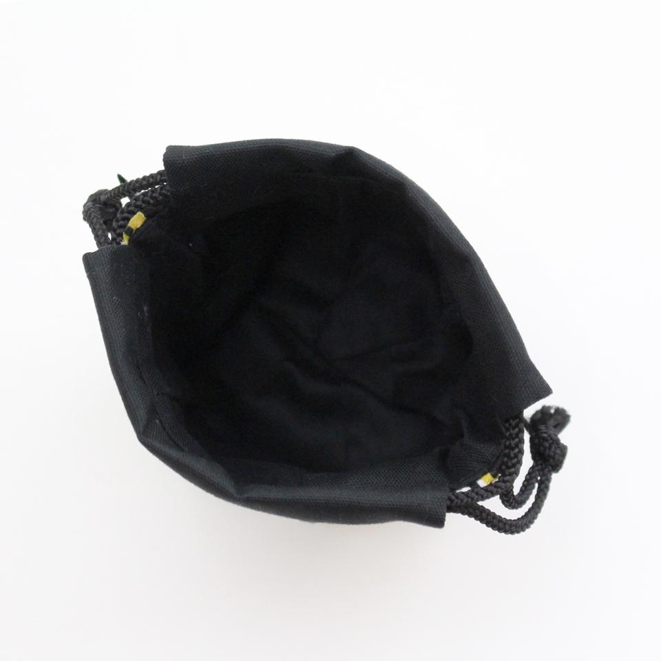 巾着袋(紙ふうせん)  水玉(マスタード)×黒