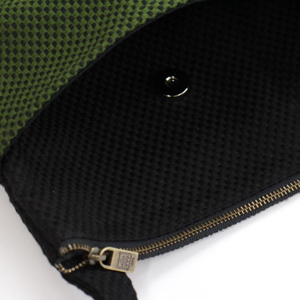 刺子織おさんぽバッグ 水玉/ 紺×赤