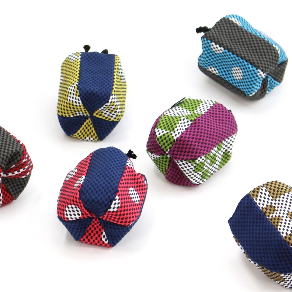 巾着袋(紙ふうせん)  市松(茶)×若草
