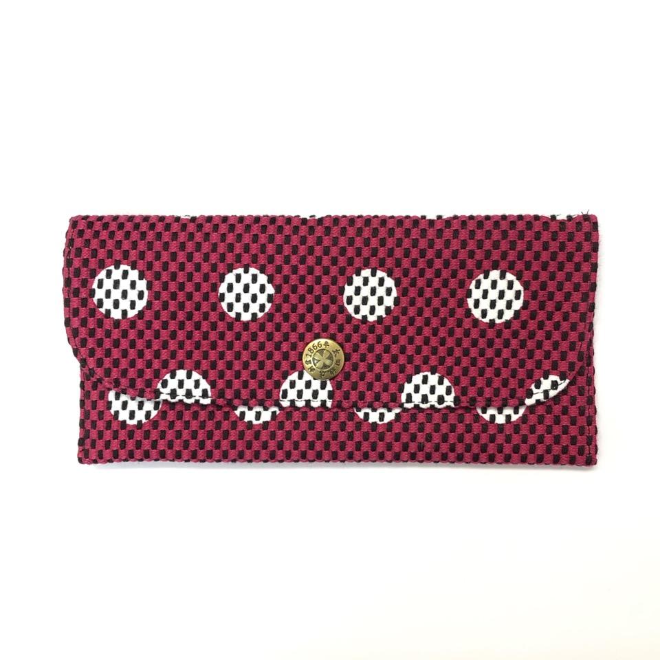 刺子織長財布 水玉/紫