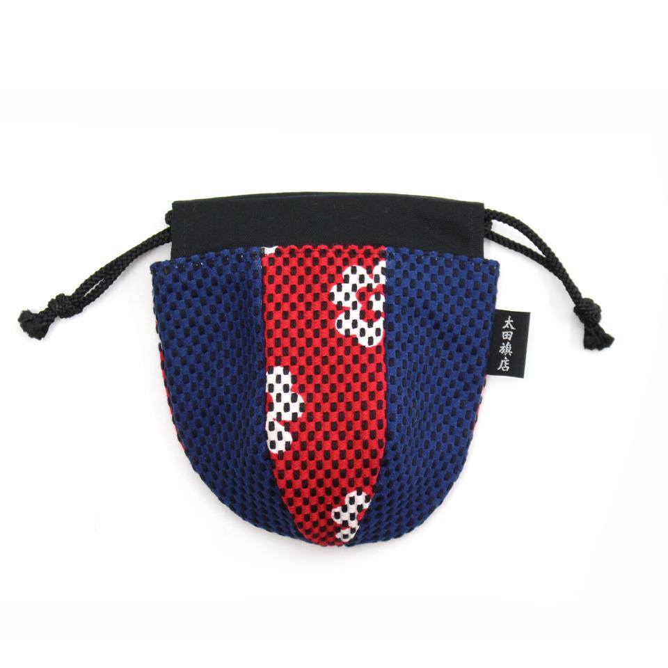 巾着袋(紙ふうせん)  クローバー(赤)×紺