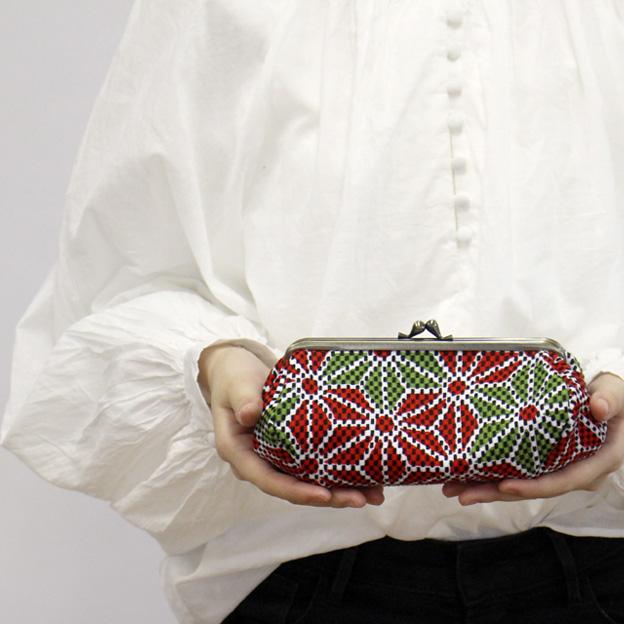 刺子織がま口ポーチ 千鳥格子/桔梗色