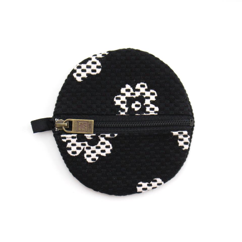 刺子織丸型小銭入れ クローバー/黒