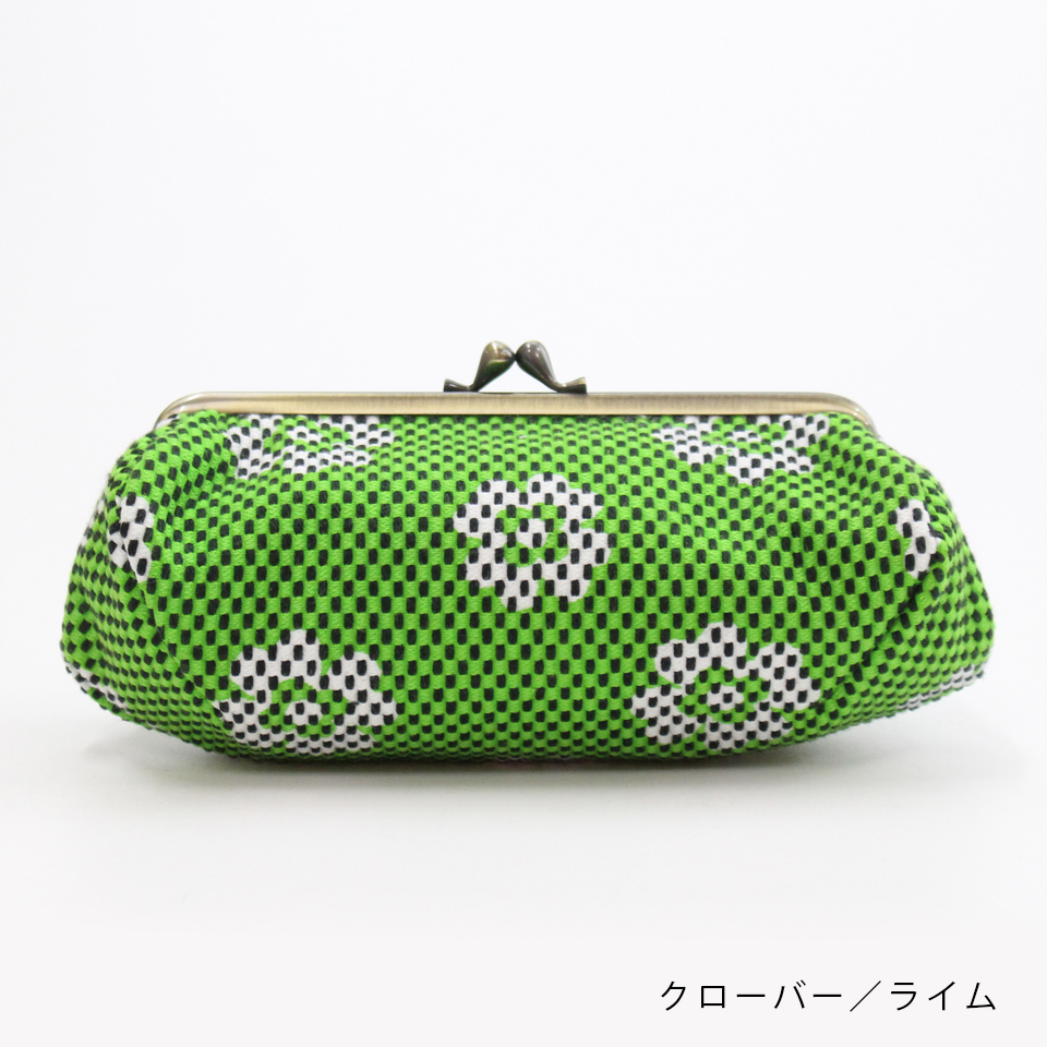 刺子織がま口ポーチ クローバー/ライム