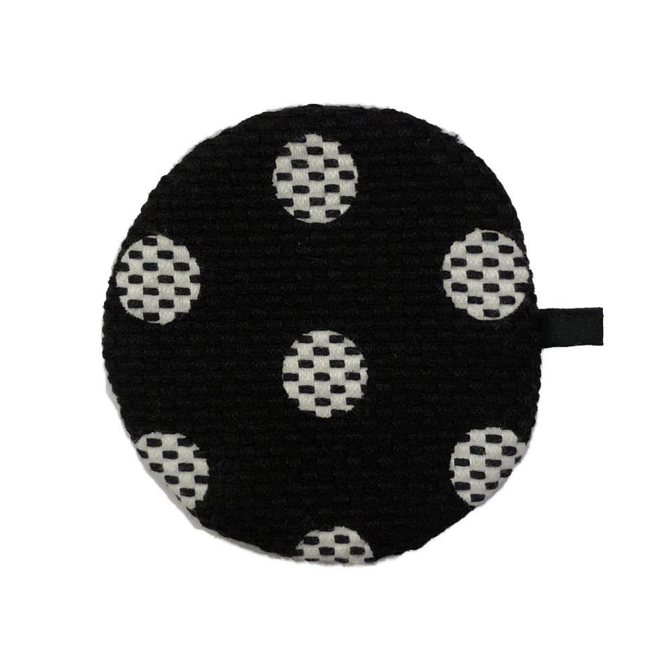 刺子織丸型小銭入れ 水玉/黒