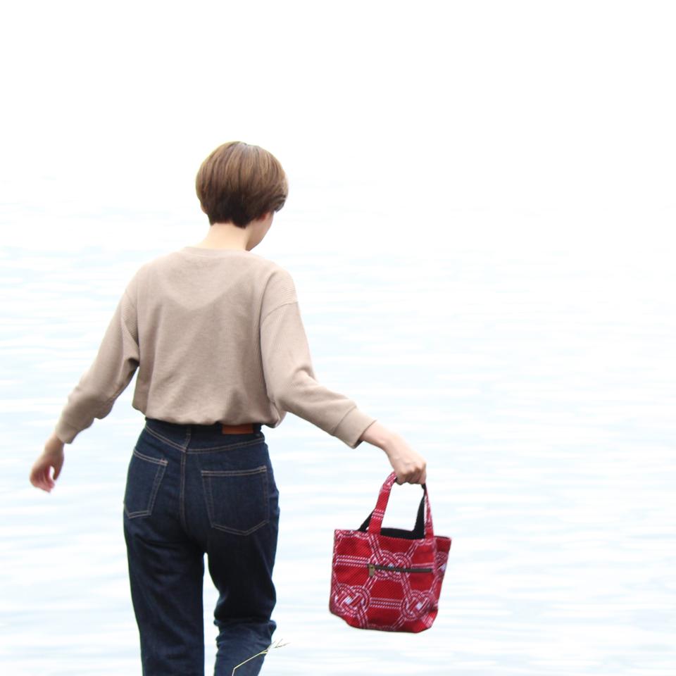 刺子織トートバッグS 水引 / 紺