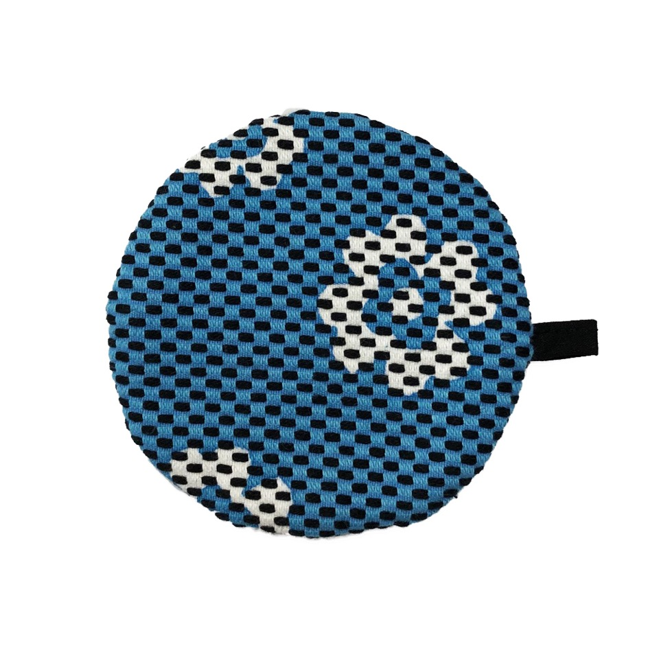 刺子織丸型小銭入れ クローバー/水色