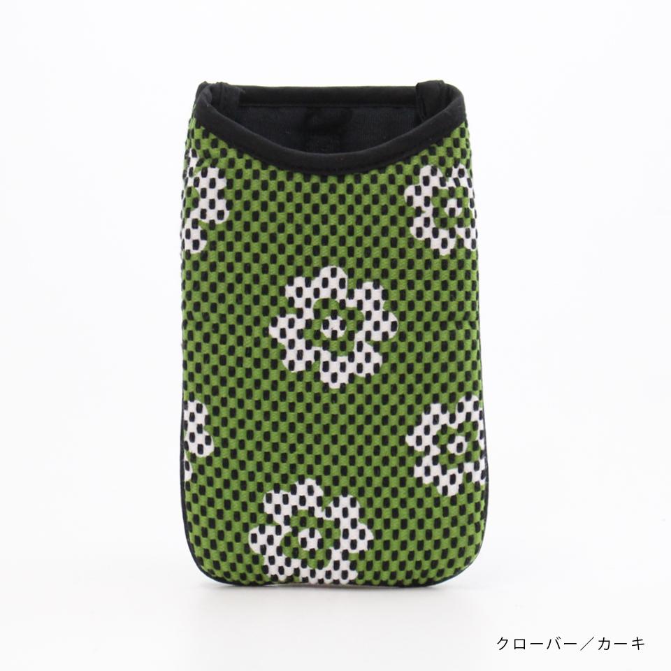 刺子織スマホケース クローバー/カーキ