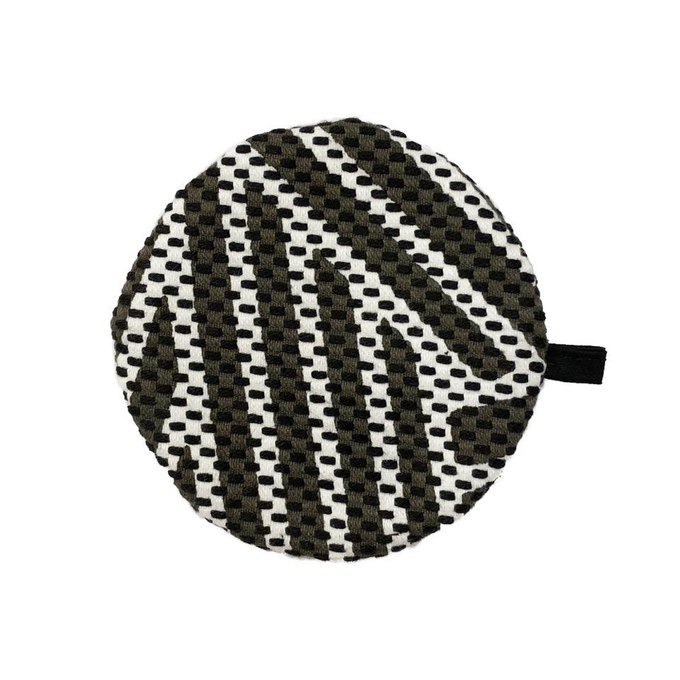 刺子織丸型小銭入れ 編目/グレー