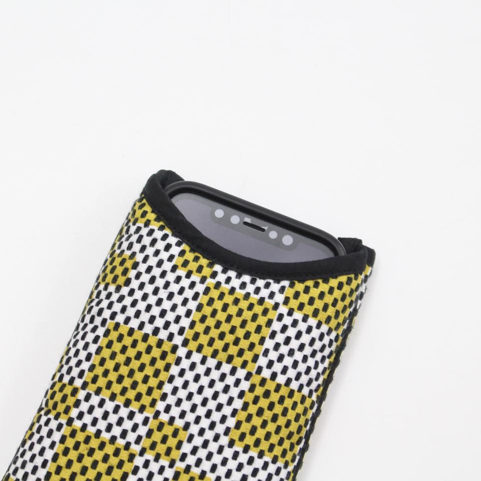 刺子織スマホケース クローバー/水色