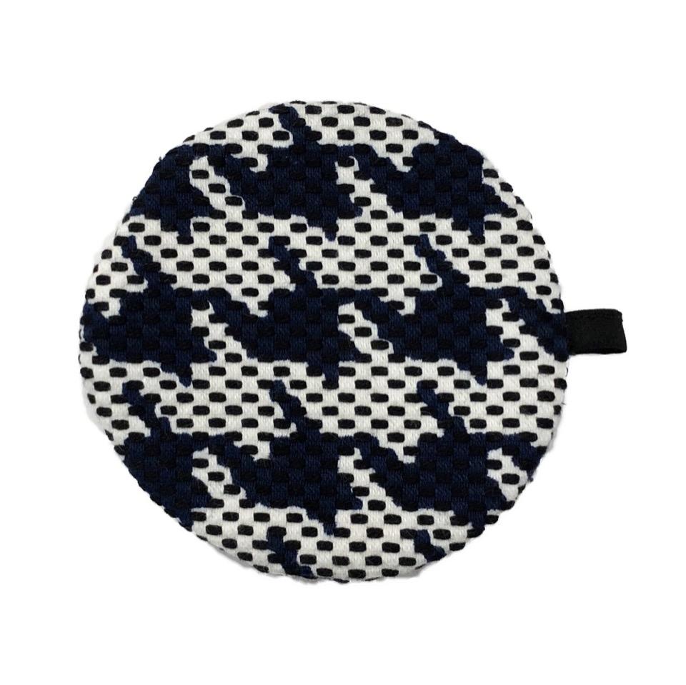 刺子織丸型小銭入れ 千鳥格子/紺