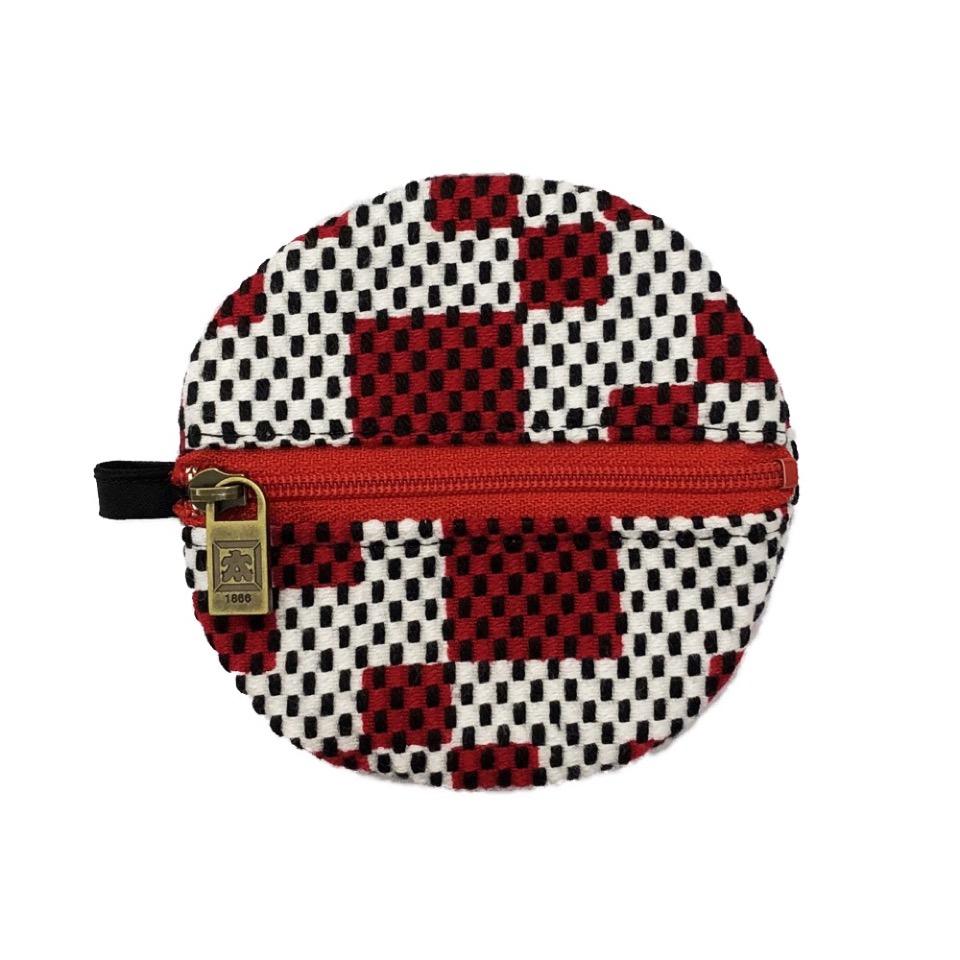 刺子織丸型小銭入れ 市松ミックス/赤
