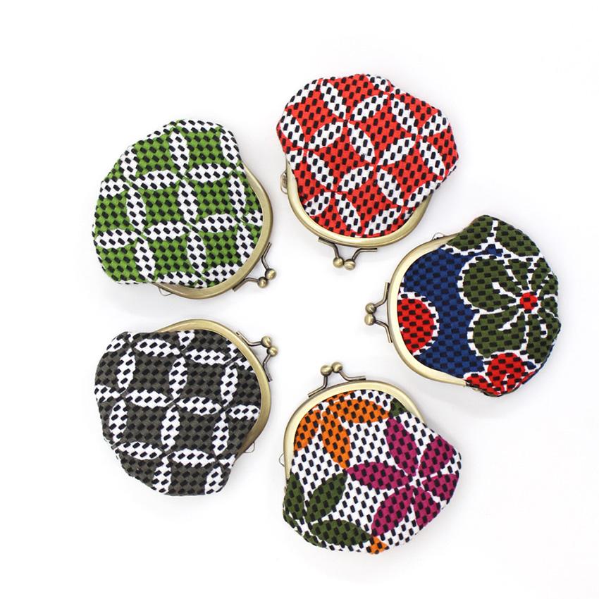 刺子織がま口小銭入れ(小) 檜垣/グレー