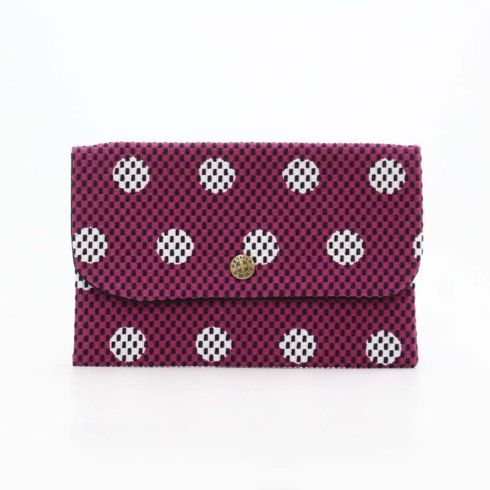 刺子織通帳ケース 水玉/紫