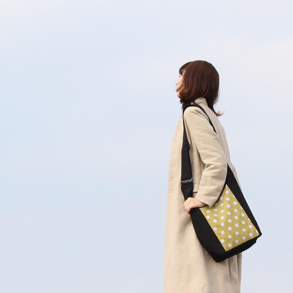 刺子織ショルダーバッグ 水玉×紺無地