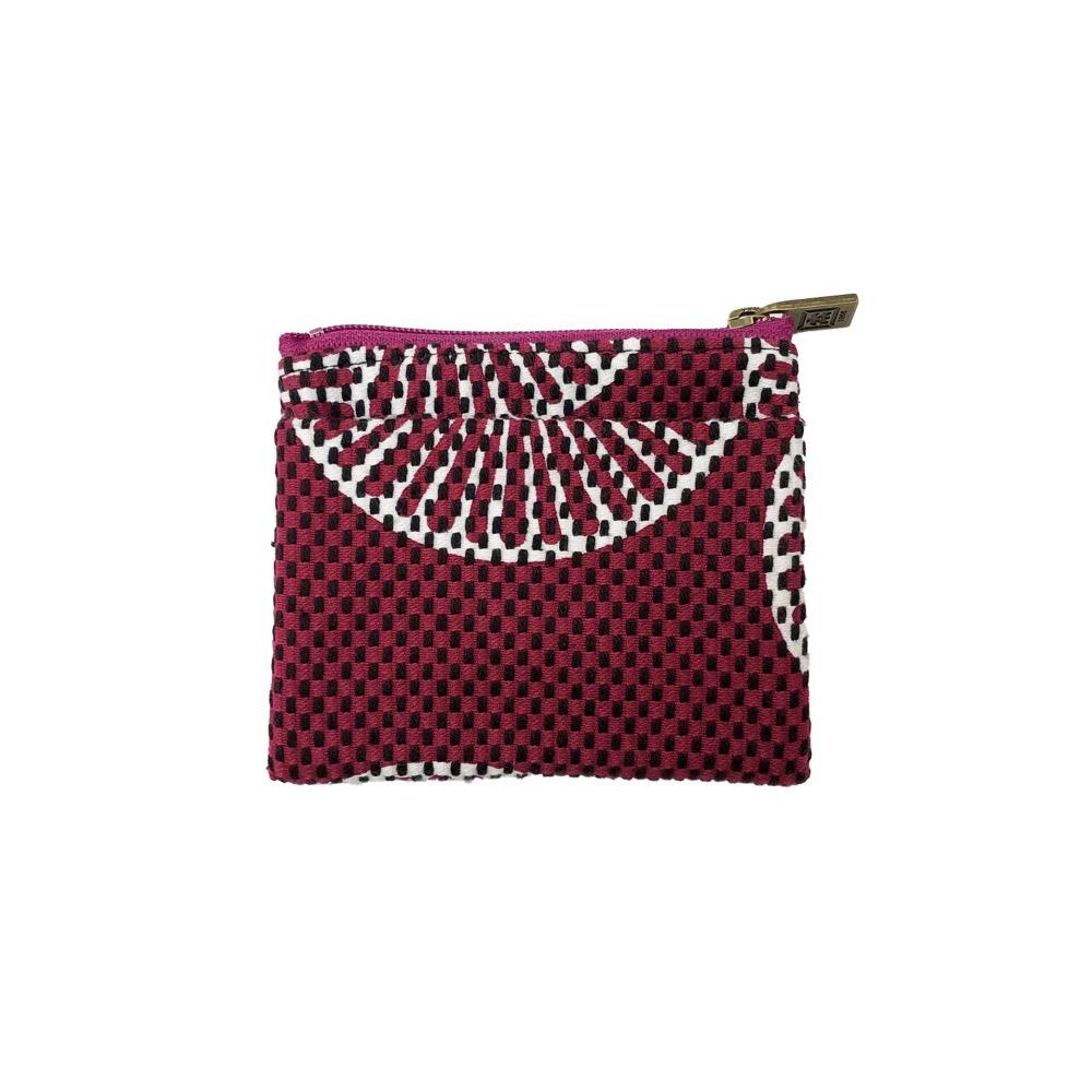 刺子織ジップ小銭入れ 重ね松/紫