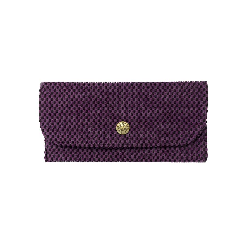 刺子織長財布 無地/紫