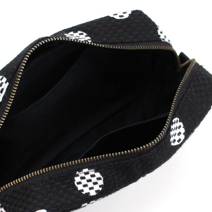 刺子織横型BOXポーチ 水玉/赤
