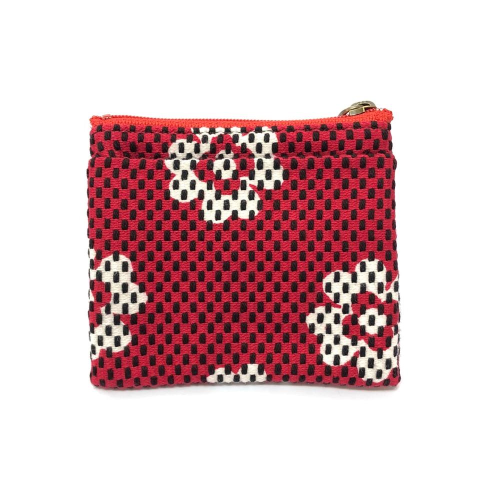 刺子織ジップ小銭入れ クローバー/赤
