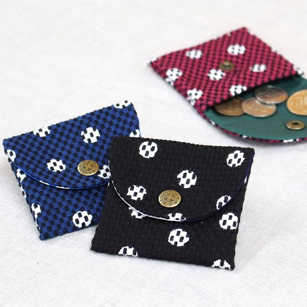 刺子織小銭入れ 水玉/赤