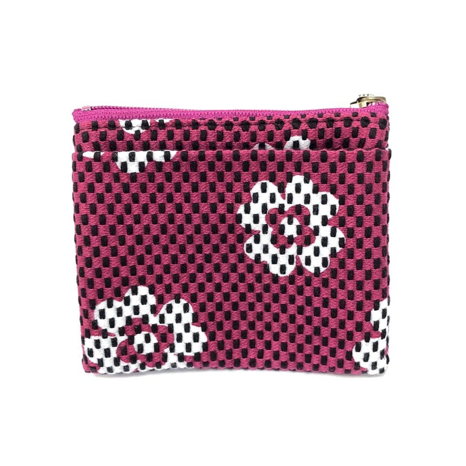 刺子織ジップ小銭入れ クローバー/紫