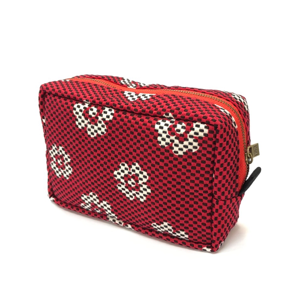 刺子織横型BOXポーチ クローバー/赤