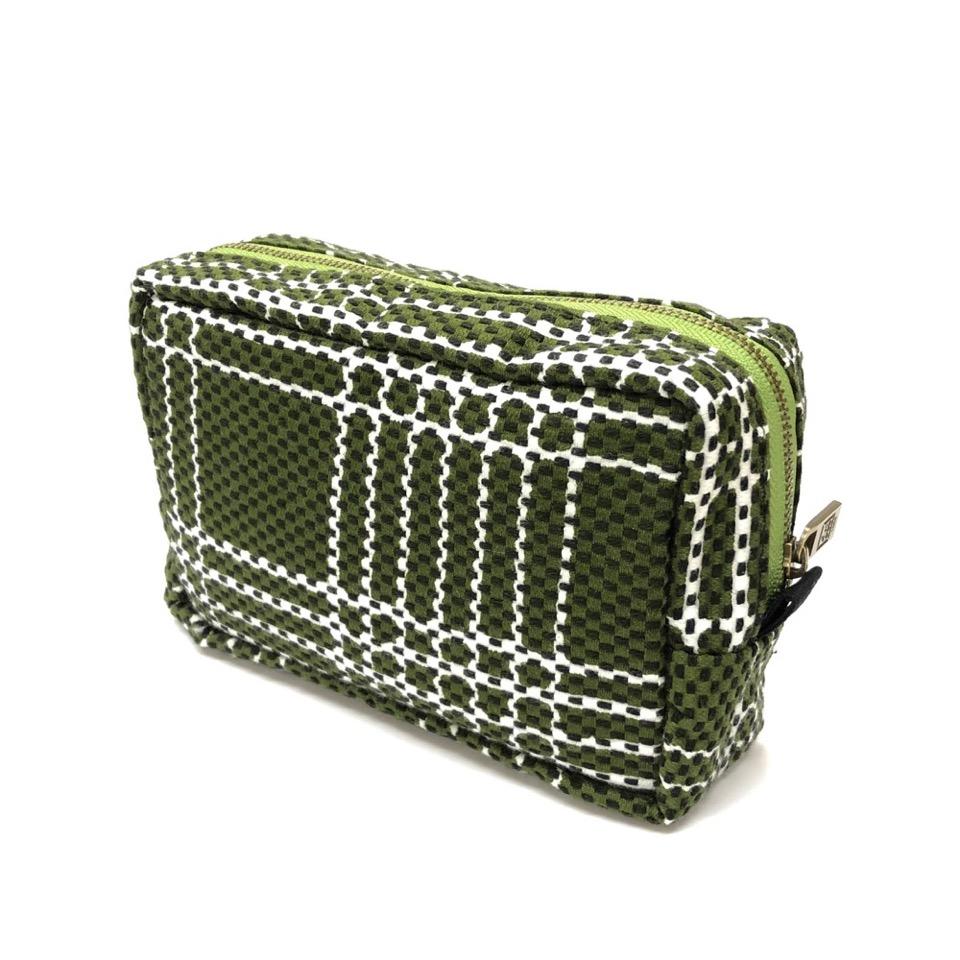 刺子織横型BOXポーチ なごみ(七五三)/カーキ
