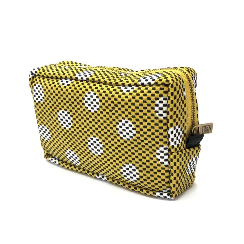 刺子織横型BOXポーチ 水玉/からし