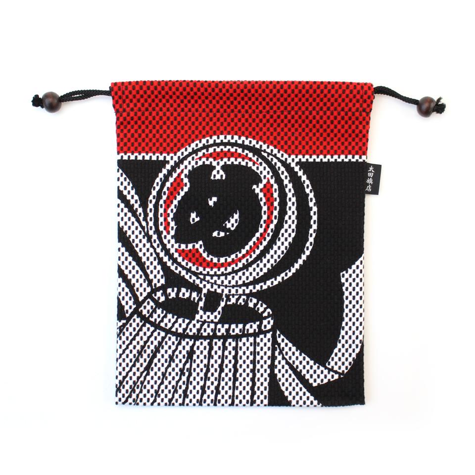 刺子織×消防柄◆巾着袋<纏>