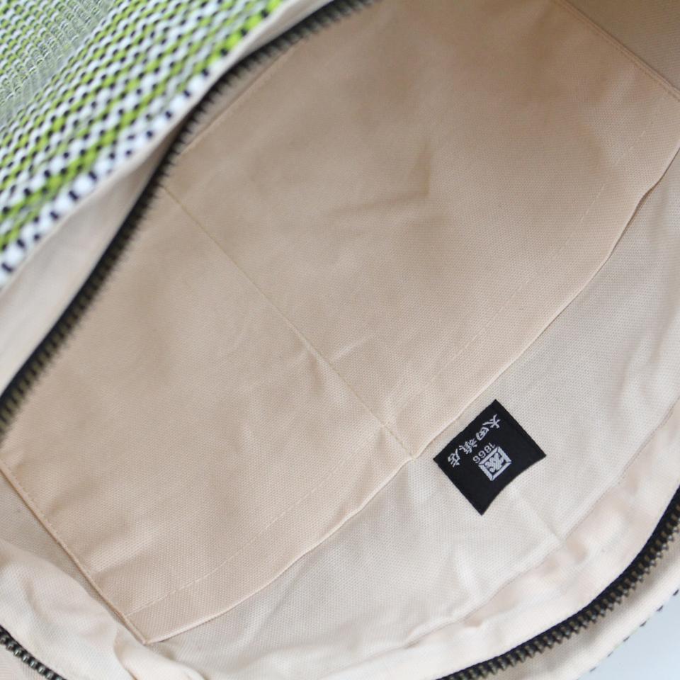 【新作】刺子織マリーバッグ フランス縞 / 薄緑