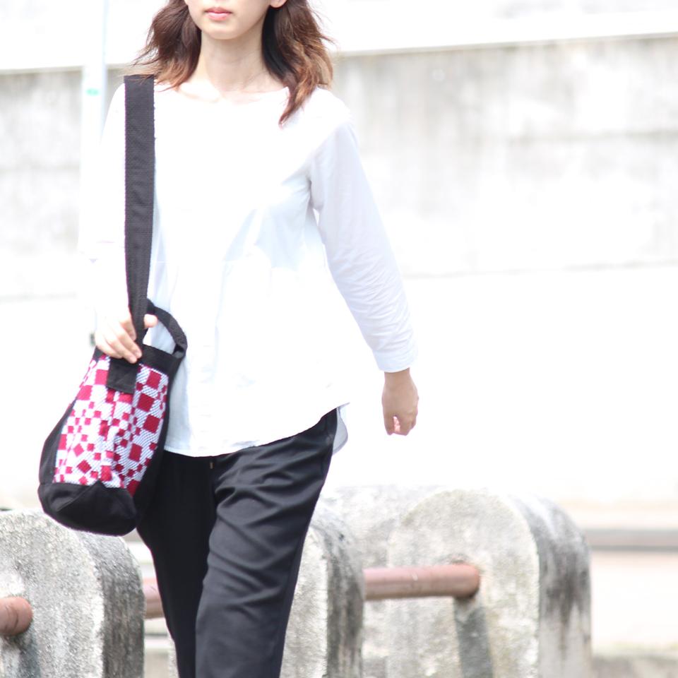 刺子織2Wayバッグ 市松(端)/赤×無地/黒
