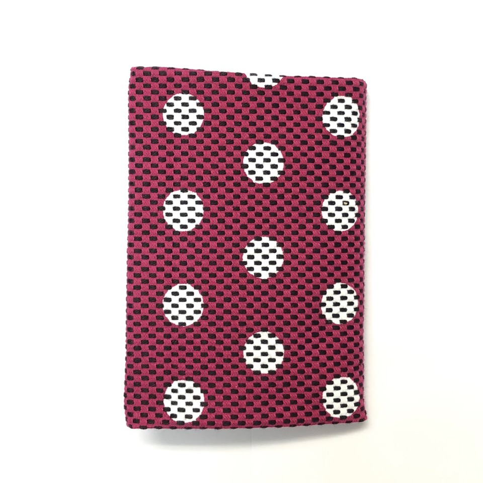 刺子織ブックカバー(文庫本) 水玉/紫