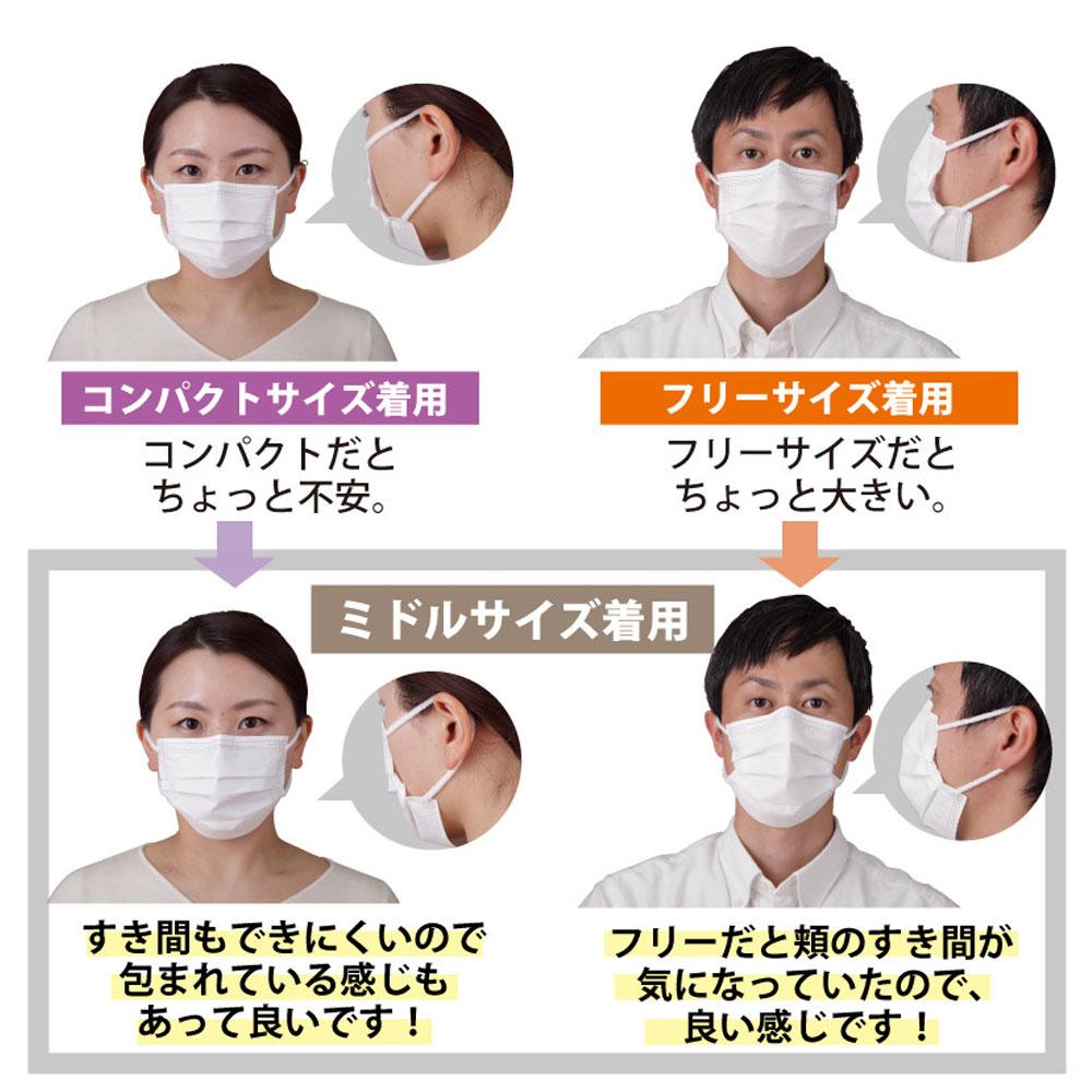 1箱 PDR 極太ボア耳ゴムマスク プルム ミドル 50枚入【メール便不可】