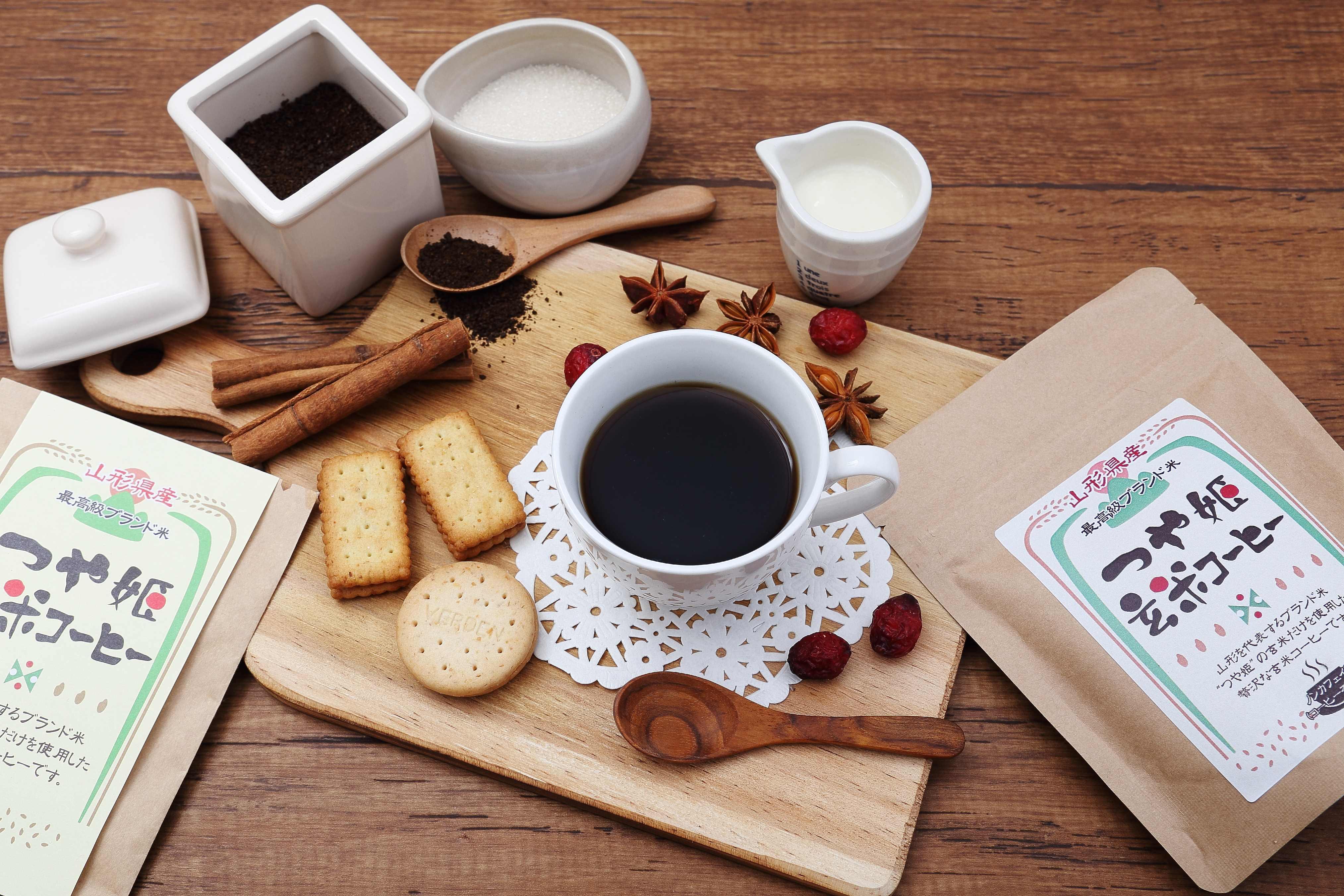 玄米コーヒー つや姫 粉タイプ 100g ドリップ 玄米珈琲 妊婦 さんにも嬉しい ノンカフェイン コーヒー 無添加 国産 ブラックジンガー 山形県産 ブランド米使用 ギフト
