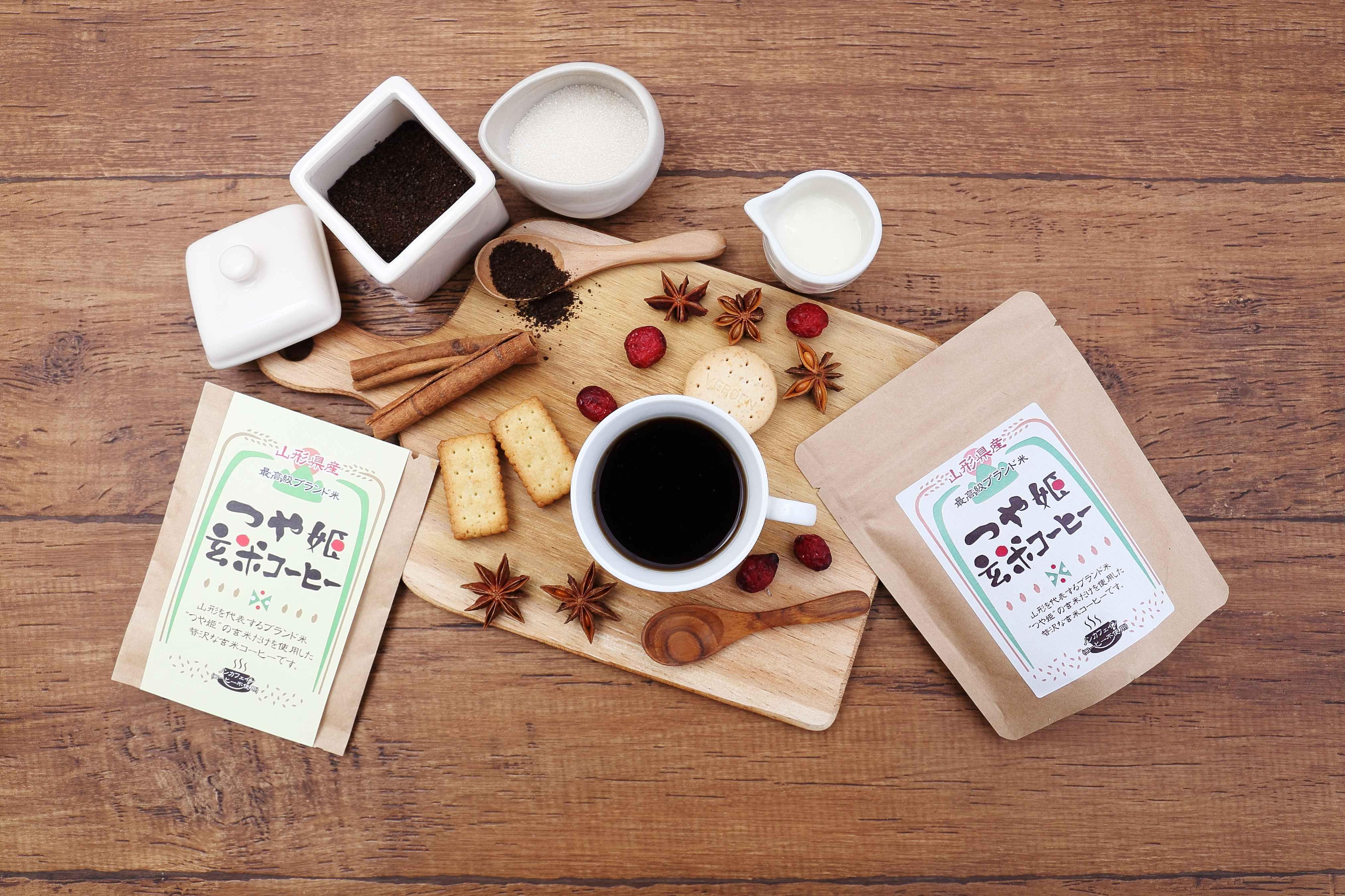 玄米コーヒー つや姫 粉タイプ 200g ドリップ 玄米珈琲 妊婦 さんにも嬉しい ノンカフェイン コーヒー 無添加 国産 ブラックジンガー 山形県産 ブランド米使用 ギフト