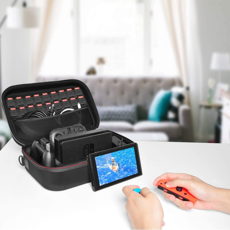【Nintendo Switch対応】Switch ケース スイッチケース 旅行用キャリングケース deruitu 超大容量 収納バッグ まるごとバック全面保護型 防塵 防汚 耐衝撃 18種類のカードゲーム/コントローラー/アクセサリー収納可能(ブラック