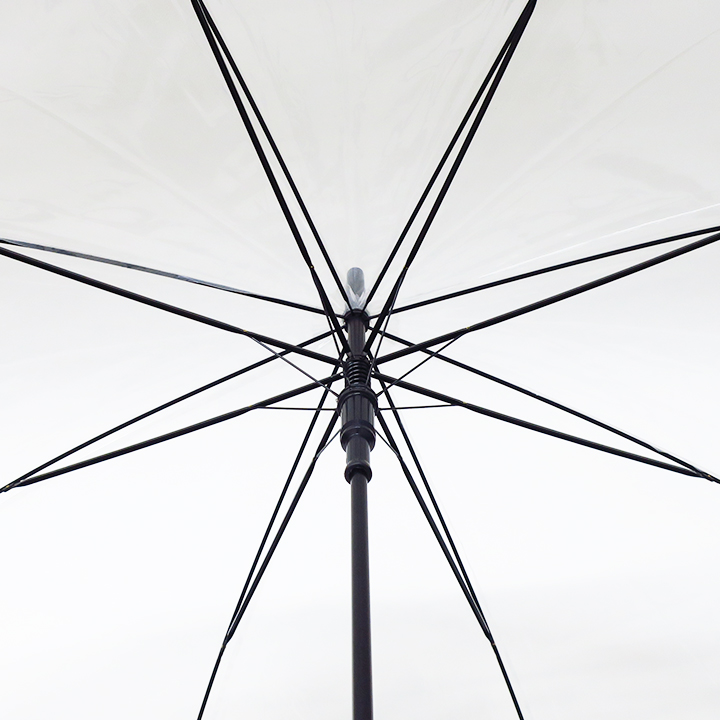 当店オリジナル 65cmビニール傘 (特大サイズ) ジャンプ式 透明 黒骨 480本セット(10c/s)