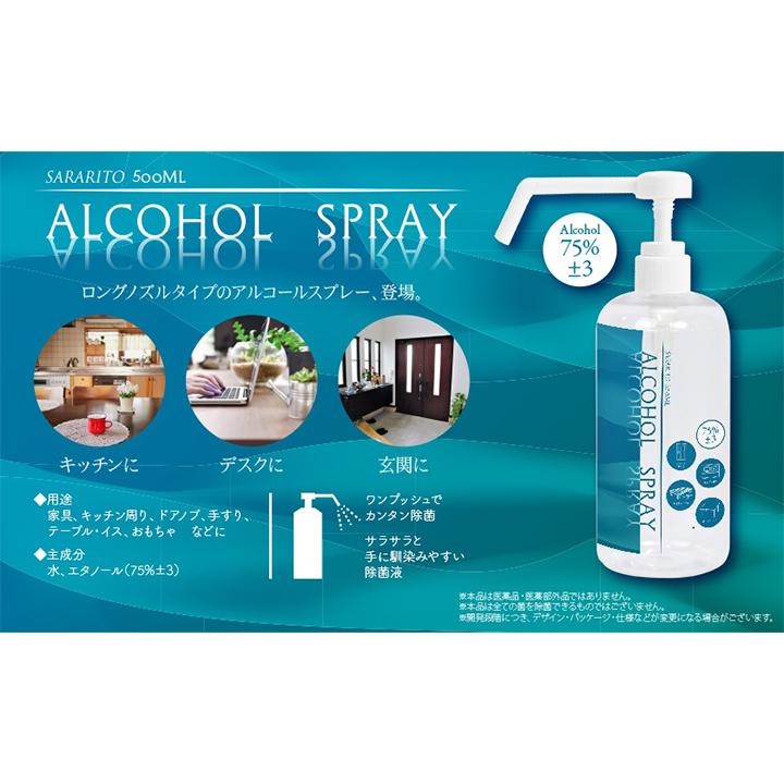 サラリト除菌アルコールスプレー ロングノズル 500ml 48個セット