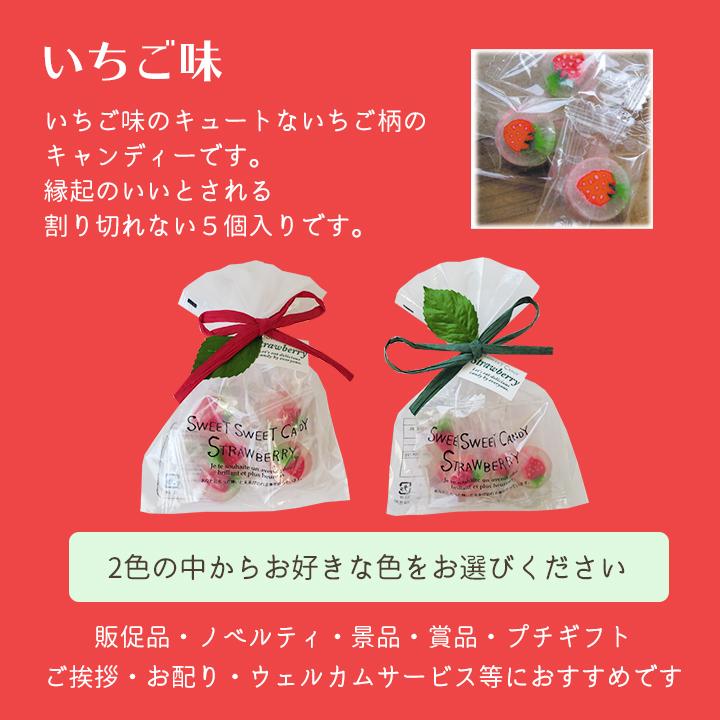 いちごの粒キャンディー 5個入 紐のカラーを 2種類から選べる! 40袋セット(10袋×4c/s)