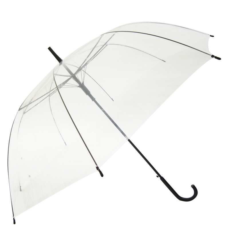 当店オリジナル 65cmビニール傘 (特大サイズ) ジャンプ式 透明 黒骨 48本セット(1c/s)