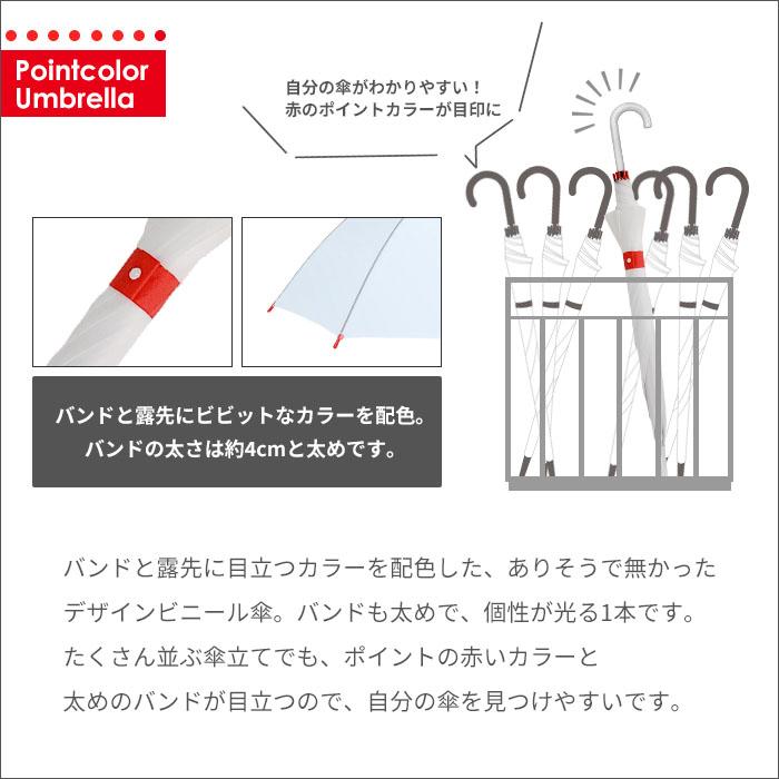 ポイントカラービニール傘 60cm 赤×ホワイト 60本セット(1c/s)