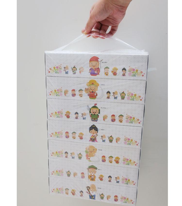 七福神BOXティッシュ 210個(3c/s) 開運おもしろ景品・販促品・粗品ティッシュ