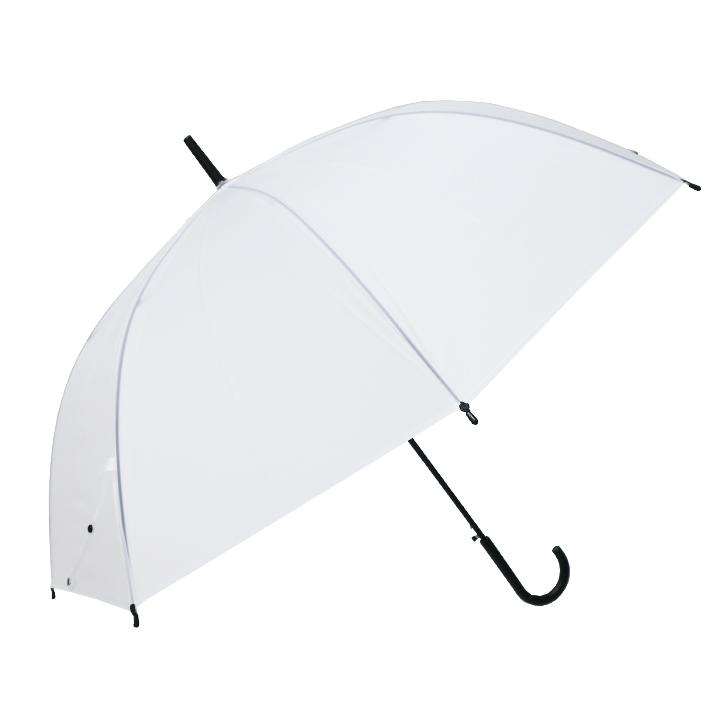 当店オリジナル 65cmビニール傘 (特大サイズ) 乳白 ジャンプ式 黒骨 6本セット