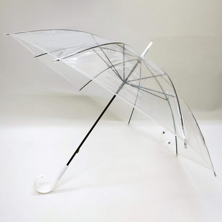 ビニール傘50cm 透明 黒骨 手開き式 300本セット(5c/s)#501