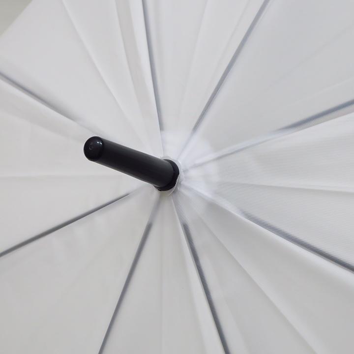 当店オリジナル 65cmビニール傘 (特大サイズ) 乳白 ジャンプ式 黒骨 144本セット(3c/s)