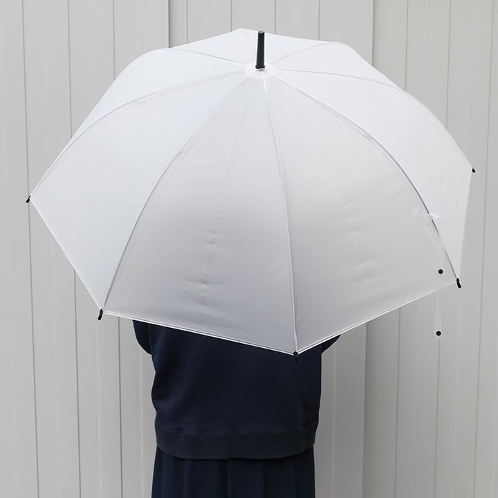 当店オリジナル 65cmビニール傘 (特大サイズ) 乳白 ジャンプ式 黒骨 240本セット(5c/s)